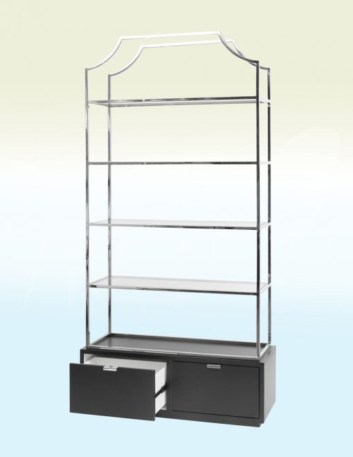 Libra Company 701219 Gatsby Black Base Stainless Steel Bookcase 1 Avant Garden
