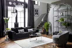 Gatsby Black Base Stainless Steel Bookcase