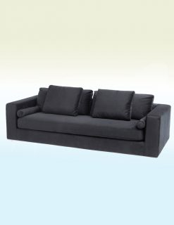 Libra Company Gatsby Jive Black Velvet Stainless Steel Three Seater Sofa