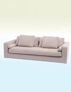 Libra Company Gatsby Jive Taupe Velvet Stainless Steel Three Seater Sofa