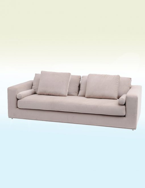 Libra Company 701223 Gatsby Jive Taupe Velvet Stainless Steel Three Seater Sofa 1 Avant Garden