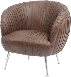 Libra Company Gatsby Pleated Brown Leather Occasional Chair
