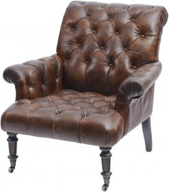 Libra Company Fitzgerald Classic Button Back Vintage Leather Armchair