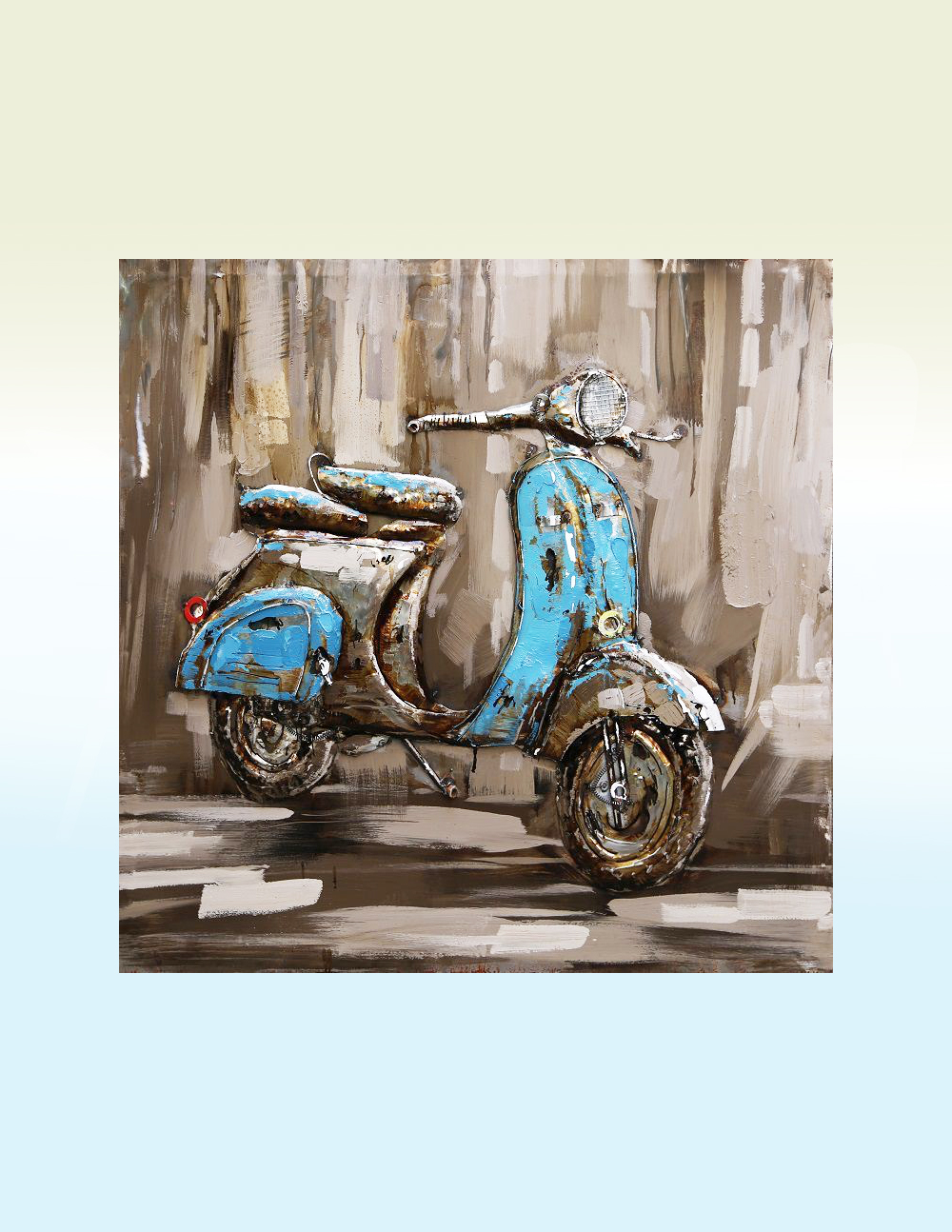 3d Wall Art For Contemporary Homes: 3D Metal Wall Art Vespa Blue Painting All Of Our Metal Art