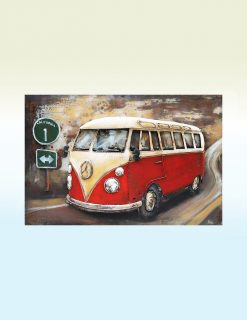 MEAR 28 3D Metal Wall Art VW Bus Sculpture 1 Avant Garden Guernsey
