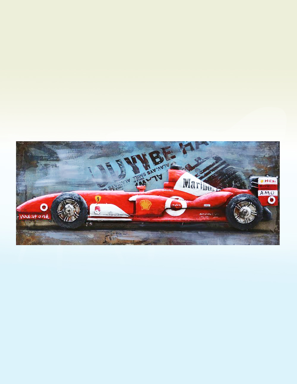 3D Metal Wall Art F1 Racing Car Sculpture