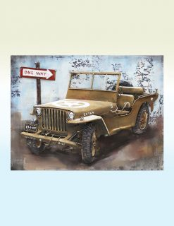 MEAR 41 3D Metal Wall Art US Army Jeep Sculpture 1 Avant Garden Guernsey