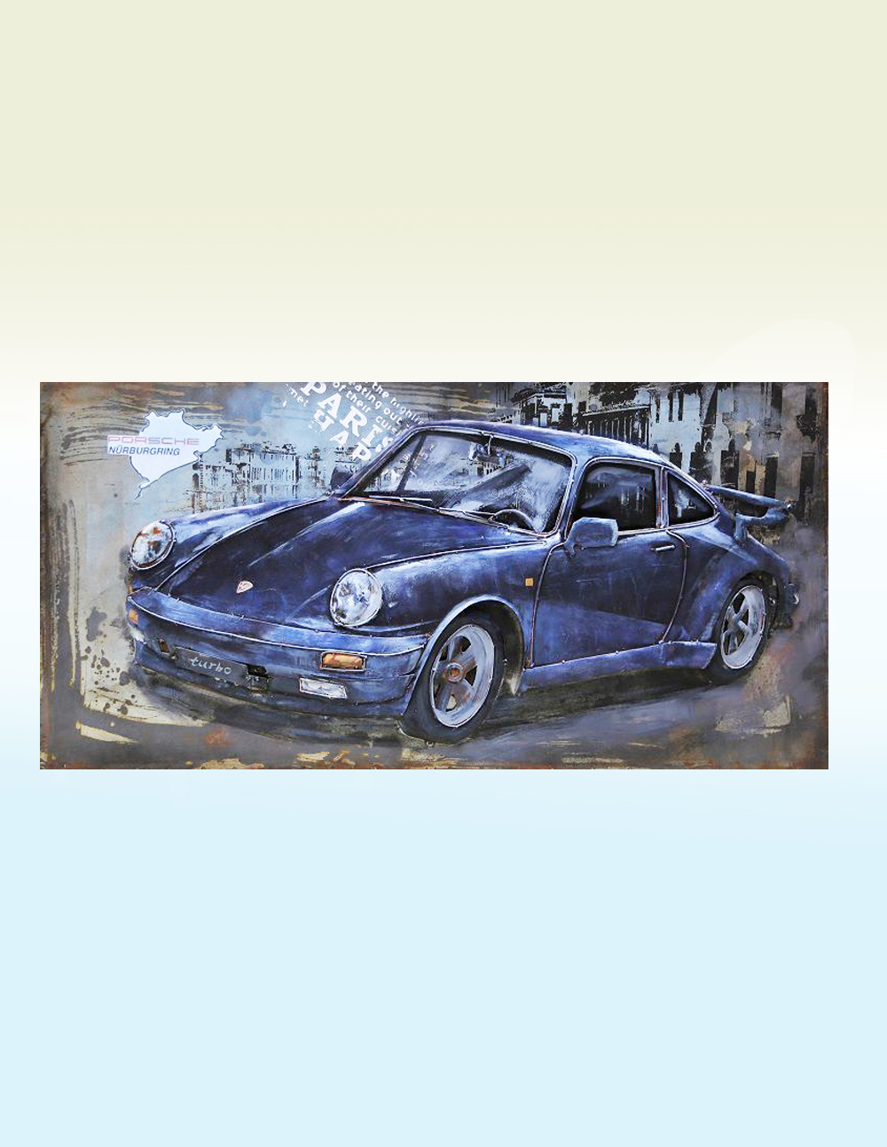 3D Metal Wall Art Porsche Sculpture