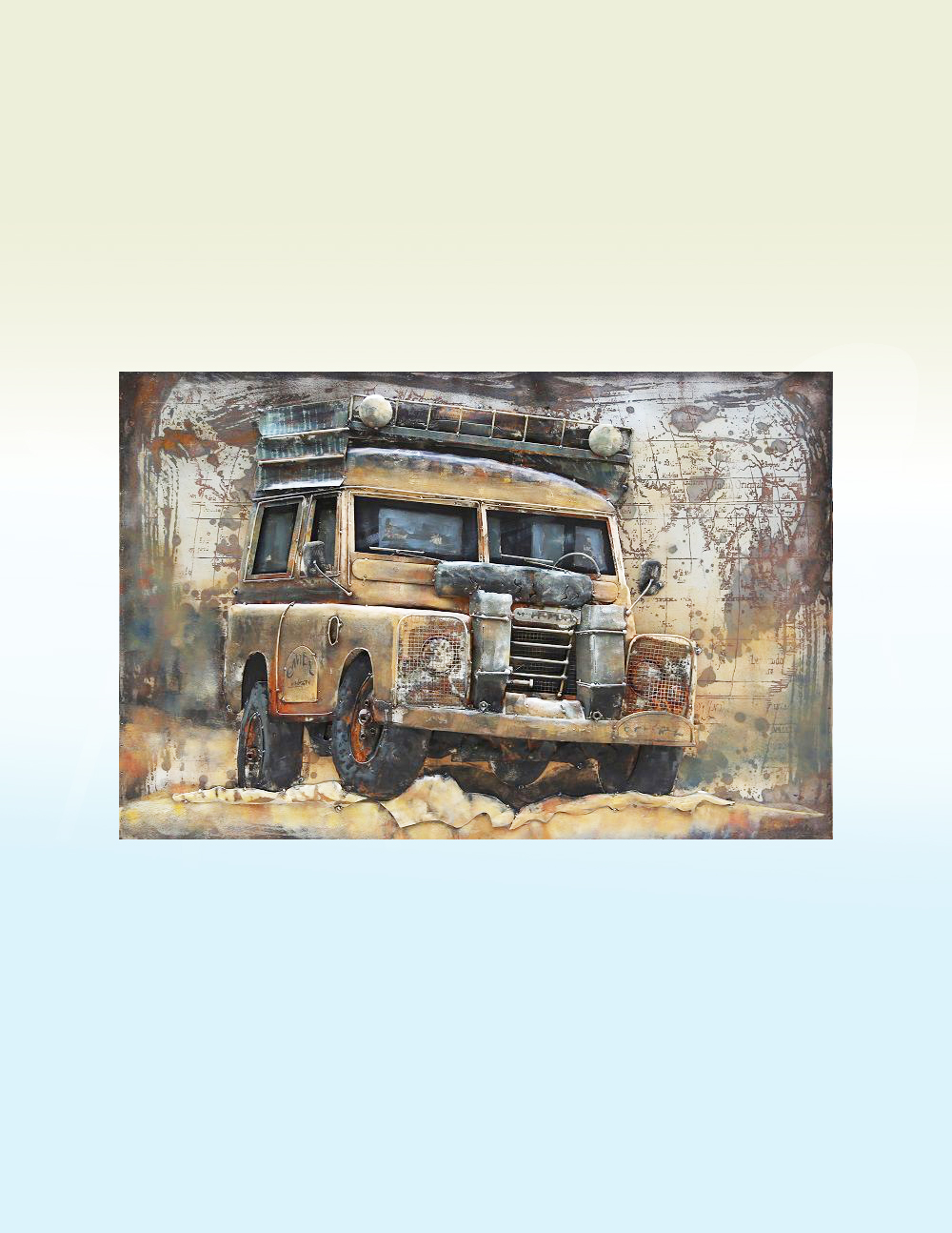 MEAR 55 3D Metal Wall Art Jeep Sculpture Avant Garden Guernsey