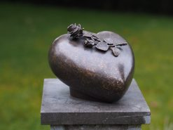 Bronze Sculpture Memorial Urn Heart Peace Rose