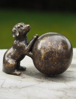 MESU 37 Cremation Urn Memorial Dog Mini with Ball Solid Bronze Sculpture 1 | Avant Garden