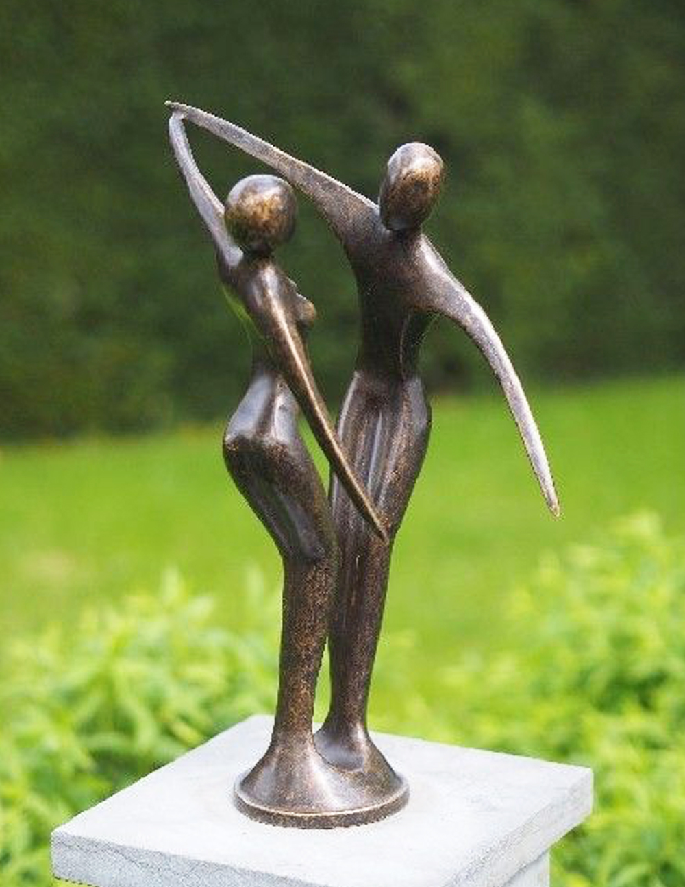Modern Bronze Sculpture of Mother and Child on Granite Base ... | 1294x1000