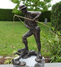 Fine Cast Bronze Male Sculpture Fisherman