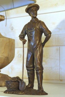 Fine Cast Bronze Sculpture Male Gardener