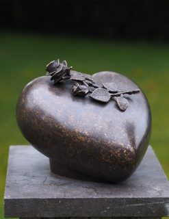 MESU 36 Cremation Urn Peace Rose Heart Sculpture Solid Bronze 1 | Avant Garden