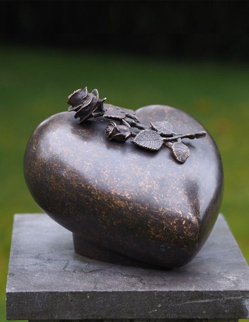 Cremation Urn Peace Rose Memorial Heart Sculpture Solid Bronze Large