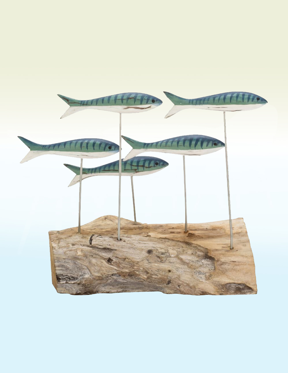 N323 Archipelago Mackerel Shoal Fish Wooden Sculpture 18cm Long | Avant Garden Guernsey