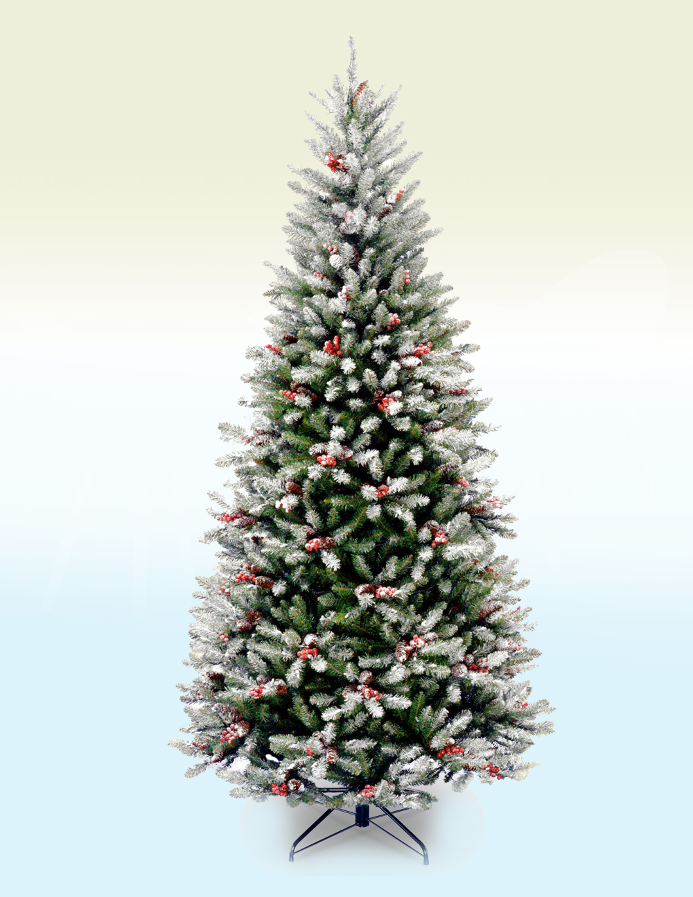 Basel Slim Frosted Fir Artificial Christmas Tree 7Ft 1