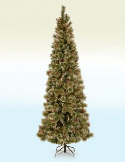 Rosenheim Slim Sparkling Artificial Christmas Tree??With Pine Cones - 9ft