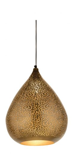 Rocco Ceiling Pendant Babloo Lamp 44cm finished in Antique Brass with a gold lacquer interior