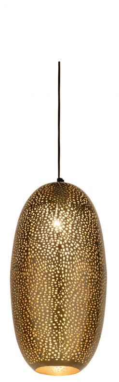 Rocco Ceiling Pendant??Lamba Lamp 45cm finished in Antique Brass with a gold lacquer interior
