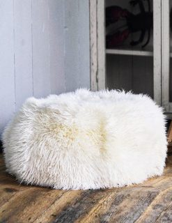 Owen Barry Sheepskin Pouffee Long Wool Luxe