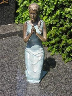 Fine Bronze Memorial Sculpture Praying Girl Brown 31cm