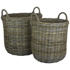 Log Basket (set of two) Tall Round Kubu Grey Rattan with Handles