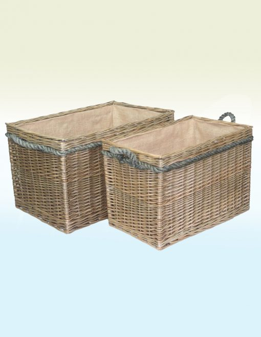 ST020 021 Willow Direct Fraserburgh Wicker Log Baskets Set Of Two Rope Handled Rectangular 1 Avant Garden Guernsey