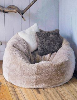Owen Barry XL Swedish Sumo Sheepskin Two Person Beanbag Taupe