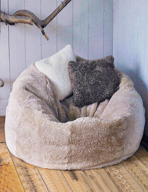 Owen Barry Taupe XL Swedish Sumo Sheepskin Two Person Beanbag  1