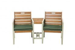 English Garden Range Tete A Tete Bench Set Natural Green