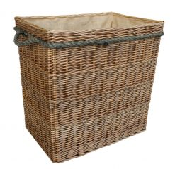 Log Basket Extra Large Rectangular Antique Wash, Hessian Lining, Rope Handles
