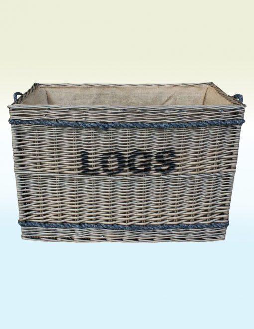 W060 Willow Direct Kinloss Ex Large Antique Wash Log Basket 1 Avant Garden Guernsey