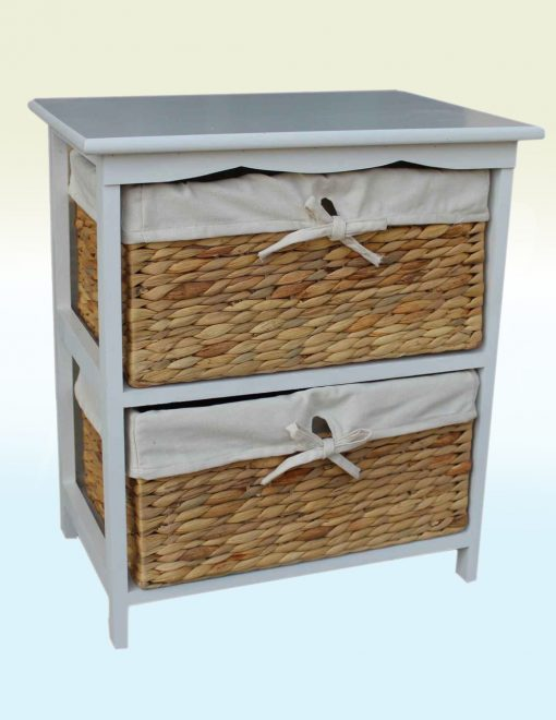 WH015 Willow Direct Skye Water Hyacinth Two Drawer Bedside Cabinet 1 Avant Garden Guernsey