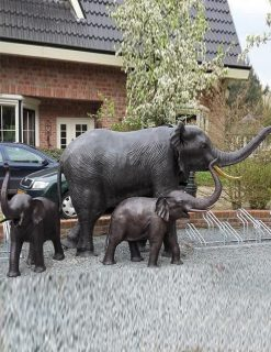 WI 40 Solid Bronze Elephant Sculpture Lifesize Fountain Water Feature 1 | Avant Garden