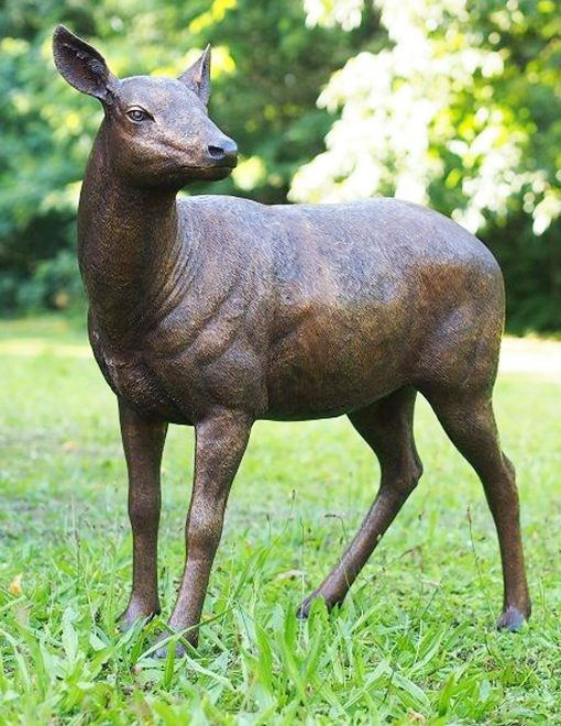 WI 45 Solid Bronze Doe Deer Sculpture 1 | Avant Garden