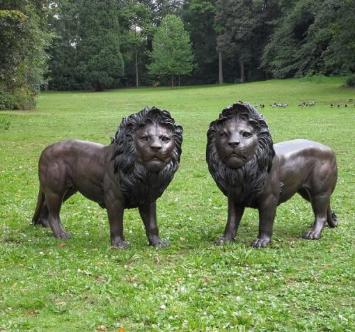WI 9 Fine Cast Bronze Sculpture Pair Of Lions Statue 100cm High 1 Avant Garden