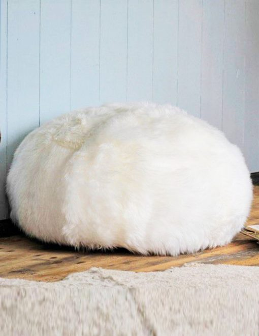 Owen Barry Sheepskin Pouffe Ivory Long Wool Luxe 1
