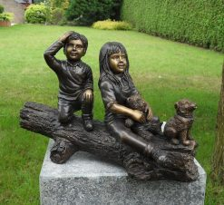 Fine Cast Bronze Sculpture Boy Girl and Dog on Log