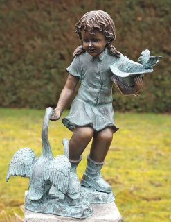 FO 31 Solid Bronze Fountain Girl Geese Sculpture 1 | Avant Garden