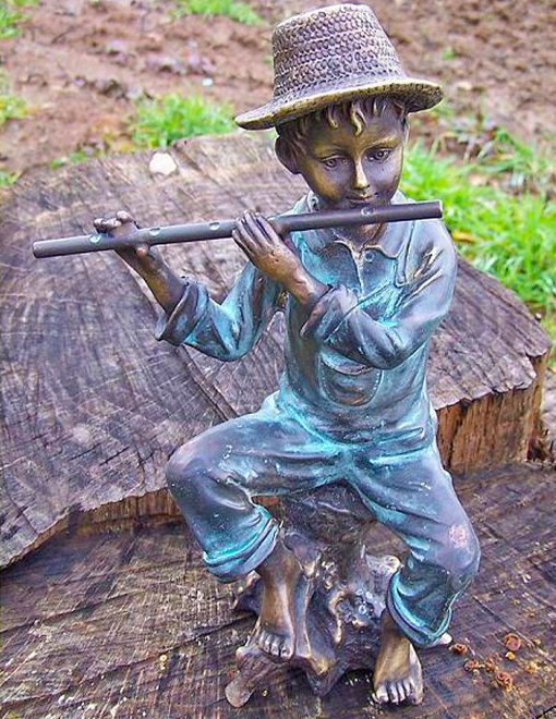 FIBO 3 Solid Bronze Boy on Log Playing Flute Sculpture 1 | Avant Garden