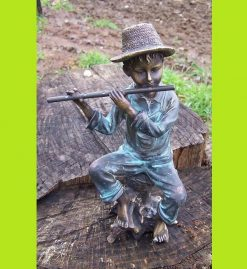 Fine Cast Bronze Sculpture Boy on log playing Flute