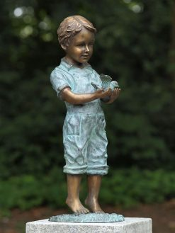 Fine Cast Bronze Sculpture Boy Bird Statue