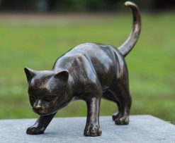 Fine Cast Bronze Sculpture Cat Pounce