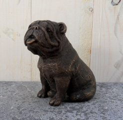 Fine Cast Bronze Sculpture British Bulldog Sitting