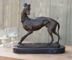 Fine Cast Bronze Sculpture of a Dog Greyhound Standing