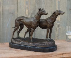 Fine Cast Bronze Sculpture Dog Greyhounds Standing