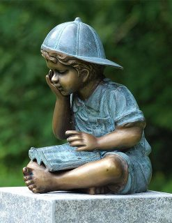 FIBO 16 Solid Bronze Reading Boy Sculpture 1 | Avant Garden