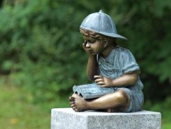 Fine Cast Bronze Reading Boy Statue